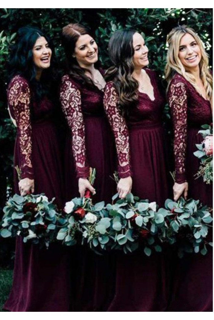 Long Sleeves Lace V-Neck Floor Length Bridesmaid Dresses 3010522