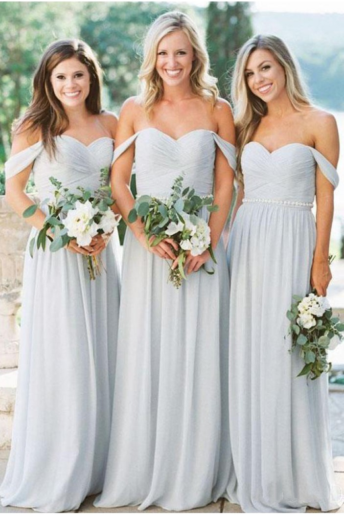 A-Line Off-the-Shoulder Chiffon Long Floor Length Bridesmaid Dresses 3010523