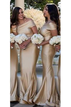 Mermaid Off-the-Shoulder Long Floor Length Bridesmaid Dresses 3010528