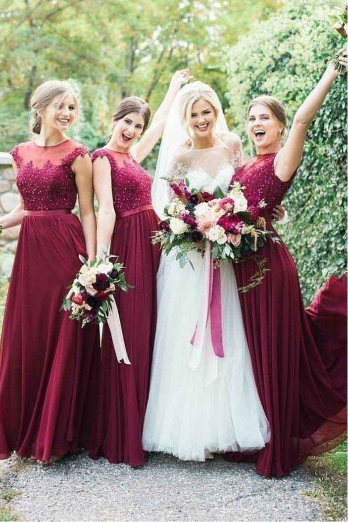 A-Line Beaded Lace and Chiffon Long Floor Length Bridesmaid Dresses 3010530