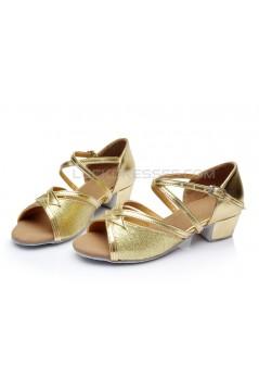 Women's Kids' Gold Sparkling Glitter Sandals Flats Latin Dance Shoes D601001