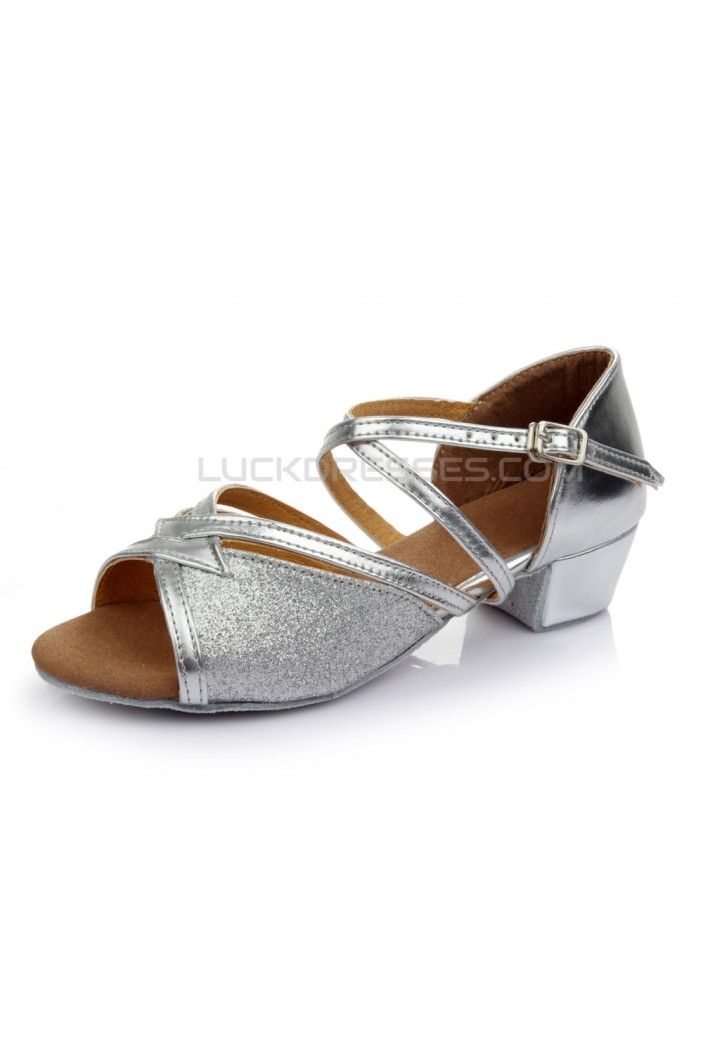 Women's Kids' Silver Sparkling Glitter Sandals Flats Latin Dance Shoes Chunky Heels Dance Shoes D601003