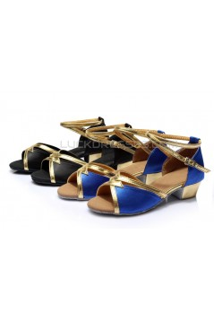 Women's Kids' Blue Satin Sandals Flats Latin Dance Shoes Chunky Heels Dance Shoes D601005