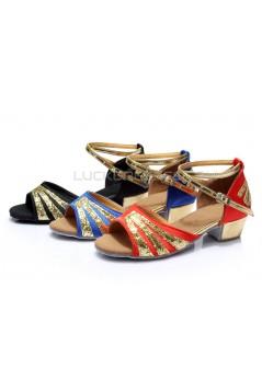 Women's Kids' Red Satin Gold Sparkling Glitter Flats Sandals Latin Dance Shoes Flower Girl Shoes D601007