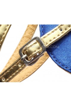 Women's Kids' Blue Satin Gold Sparkling Glitter Flats Sandals Latin Dance Shoes Flower Girl Shoes D601008