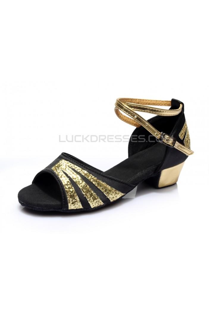 Women's Kids' Black Satin Gold Sparkling Glitter Flats Sandals Latin Dance Shoes Flower Girl Shoes D601009