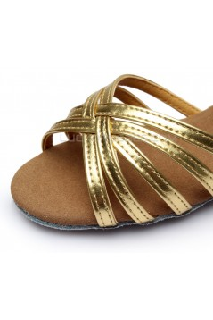 Women's Kids' Leatherette Heels Sandals Latin With Ankle Strap Gold Dance Shoes D601010