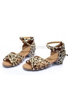 Women's Kids' Heels Sandals Latin With Ankle Strap Leopard Satin Dance Shoes D601011