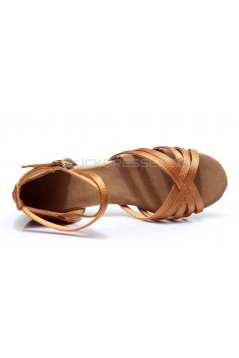 Women's Kids' Heels Sandals Latin With Ankle Strap Brown Satin Dance Shoes D601012