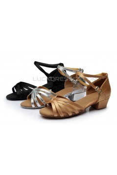 Women's Kids' Heels Sandals Latin With Ankle Strap Black Satin Dance Shoes D601014