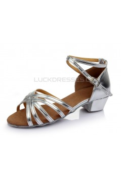 Women's Kids' Leatherette Heels Sandals Latin With Ankle Strap Silver Dance Shoes Wedding Party Shoes D601015