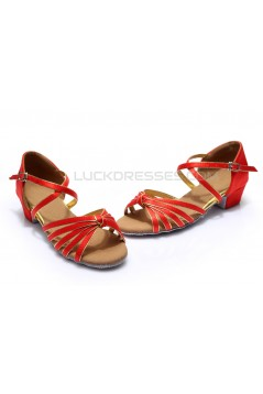 Women's Kids' Dance Shoes Latin/Ballroom Satin Chunky Heel Red Dance Shoes D601016