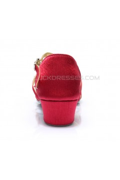 Women's Kids' Dance Shoes Latin/Ballroom Satin Chunky Heel Fuchsia Dance Shoes D601017