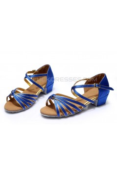 Women's Kids' Dance Shoes Latin/Ballroom Satin Chunky Heel Blue Dance Shoes D601018