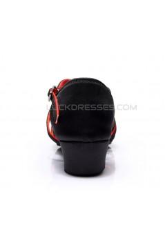 Women's Kids' Dance Shoes Latin/Ballroom Satin Chunky Heel Black Red Dance Shoes D601019