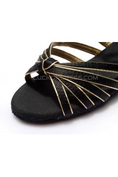 Women's Kids' Dance Shoes Latin/Ballroom Satin Chunky Heel Black Gold Dance Shoes D601020