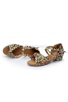 Women's Kids' Dance Shoes Latin/Ballroom Satin Chunky Heel Leopard Dance Shoes D601022
