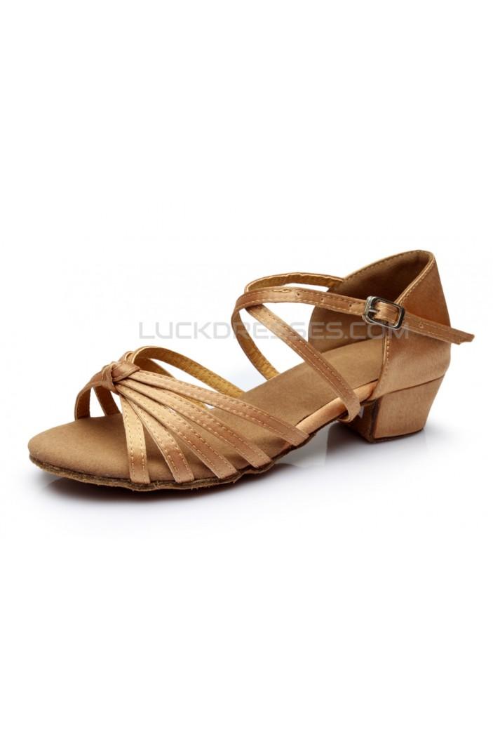Women's Kids' Dance Shoes Latin/Ballroom Satin Chunky Heel Nude Dance Shoes D601023