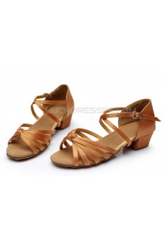 Women's Kids' Dance Shoes Latin/Ballroom Satin Chunky Heel Brown Dance Shoes D601024