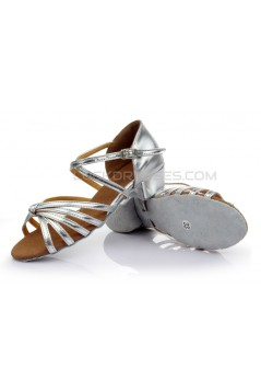Women's Kids' Leatherette Dance Shoes Latin/Ballroom Satin Chunky Heel Silver Dance Shoes D601026