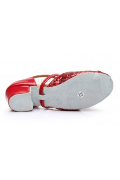 Women's Kids' Red Sparkling Glitter Flats Latin Dance Shoes Chunky Heels Modern Dance Shoes D601027