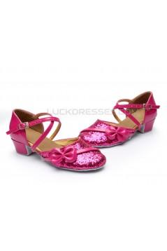 Women's Kids' Fuschia Sparkling Glitter Flats Latin Dance Shoes Chunky Heels Modern Dance Shoes D601028