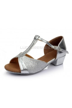 Women's Kids' Silver Sparkling Glitter Flats Latin T-Strap Dance Shoes Chunky Heels Wedding Party Shoes D601031