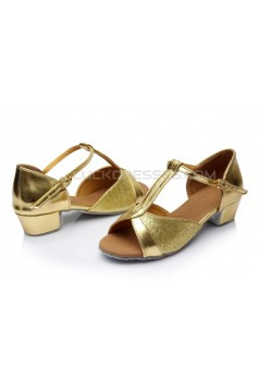 Women's Kids' Gold Sparkling Glitter Flats Latin T-Strap Dance Shoes Chunky Heels Wedding Party Shoes D601032