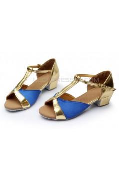 Women's Kids' Blue Satin Flats Latin Salsa T-Strap Dance Shoes Chunky Heels Dance Shoes D601033
