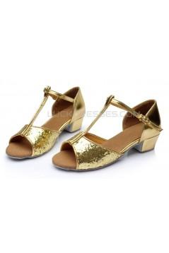 Women's Kids' Gold Sparkling Glitter Flats Latin Salsa T-Strap Dance Shoes Chunky Heels Wedding Party Shoes D601035