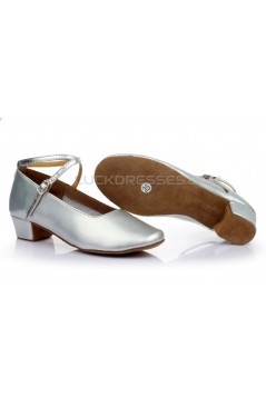 Women's Kids' Silver Leatherette Flats Latin Salsa Modern Dance Shoes Chunky Heels Wedding Party Shoes D601040