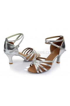 Women's Silver Satin Heels Sandals Latin Salsa With Ankle Strap Dance Shoes Wedding Party Shoes D602004