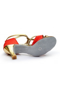 Women's Red Leatherette Satin Heels Sandals Latin Salsa With T-Strap Buckle Dance Shoes D602005