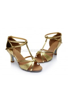 Women's Gold Leatherette Satin Heels Sandals Latin Salsa With T-Strap Buckle Dance Shoes D602006