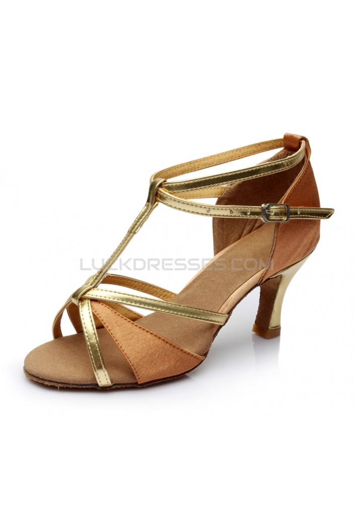 Women's Brown Leatherette Satin Heels Sandals Latin Salsa With T-Strap Buckle Dance Shoes D602007