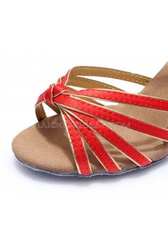 Women's Red Gold Satin Heels Sandals Latin Salsa With Ankle Strap Dance Shoes D602008