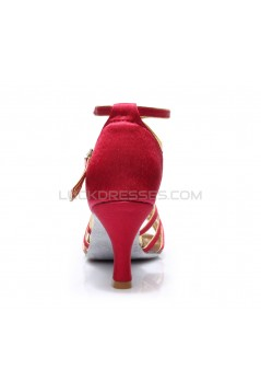 Women's Fuschia Gold Satin Heels Sandals Latin Salsa With Ankle Strap Dance Shoes D602009