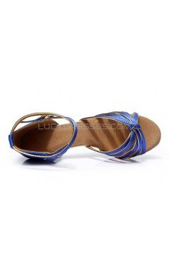 Women's Blue Gold Satin Heels Sandals Latin Salsa With Ankle Strap Dance Shoes D602010