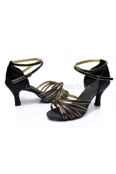 Women's Black Gold Satin Heels Sandals Latin Salsa With Ankle Strap Dance Shoes D602012