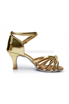 Women's Gold Leatherette Heels Sandals Latin Salsa With Ankle Strap Dance Shoes D602013