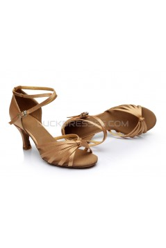 Women's Tan Satin Heels Sandals Latin Salsa With Ankle Strap Dance Shoes D602014