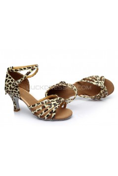 Women's Leopard Satin Heels Sandals Latin Salsa With Ankle Strap Dance Shoes D602015