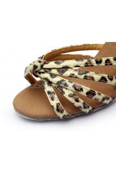 Women's Leopard Satin Heels Sandals Latin Salsa With Ankle Strap Dance Shoes D602015