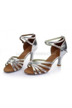 Women's Silver Leatherette Heels Sandals Latin Salsa With Ankle Strap Dance Shoes Wedding Party Shoes D602016