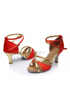 Women's Red Gold Satin Heels Sandals Latin Salsa With Ankle Strap Dance Shoes D602017