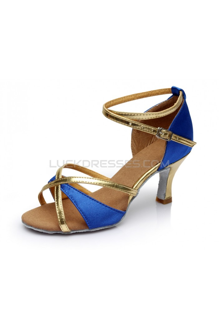Women's Blue Gold Satin Heels Sandals Latin Salsa With Ankle Strap Dance Shoes D602018