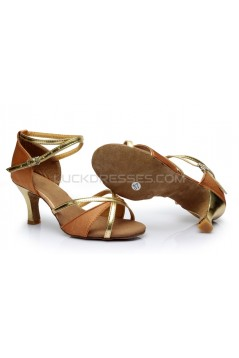 Women's Brown Gold Satin Heels Sandals Latin Salsa With Ankle Strap Dance Shoes D602019