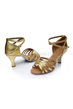Women's Gold Leatherette Heels Sandals Latin Salsa With Ankle Strap Dance Shoes D602021