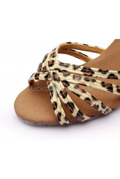 Women's Leopard Satin Heels Sandals Latin Salsa With Ankle Strap Dance Shoes D602022
