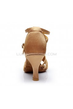Women's Beige Satin Heels Sandals Latin Salsa With Ankle Strap Dance Shoes D602023